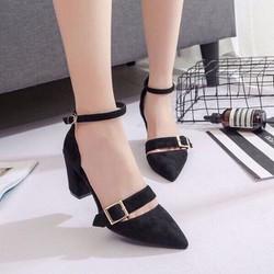 giày cao gót khoá vuông da lộn