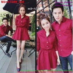 Set áo váy cặp tình nhân sắc đỏ nồng nàn tình yêu ATD89