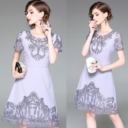 Đầm Suông Họa Tiết Thêu Cắt Lazer THƯỢNG CẤP HÀNG NHẬP A2082