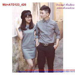 Set áo váy cặp sọc ca rô trẻ trung cho đôi bạn đang yêu ATD123