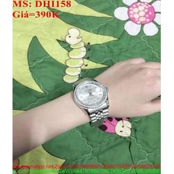 Đồng hồ dây inox trắng đính hạt sang trọng DHI158