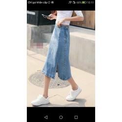Chân váy jean dài xẻ