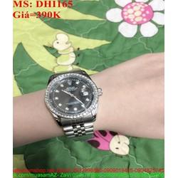 Đồng hồ nữ đeo tay màu đen cá tinh đính đá sang trọng DHI165