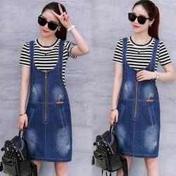 Đầm jean yếm dây kéo Klein thời trang