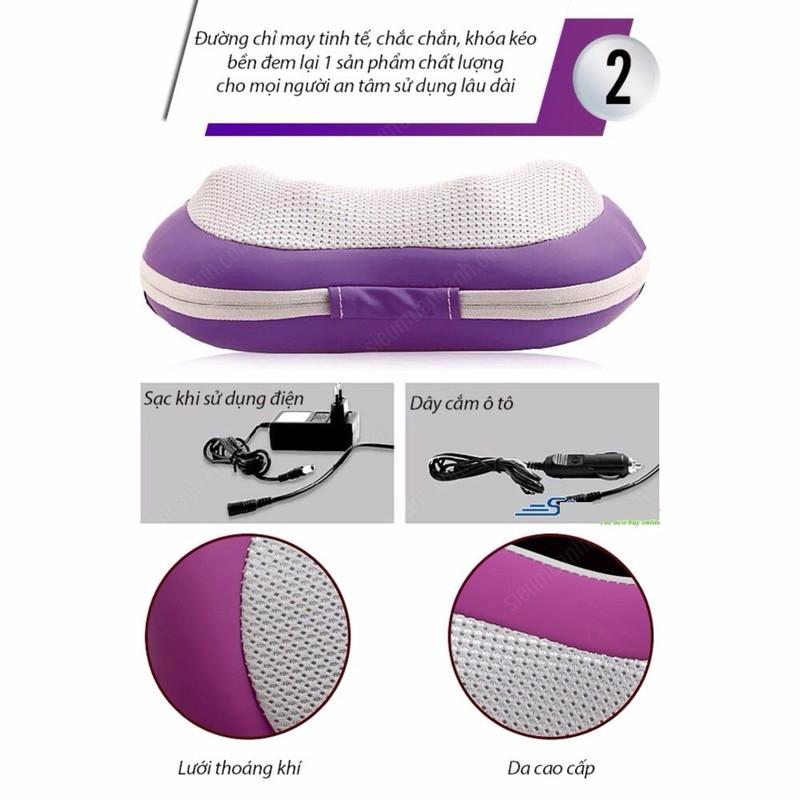 Gối massage hồng ngoại 6 bi 3D  KAZUKO đa năng 5