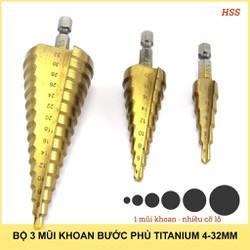 Bộ 3 mũi khoan bước thẳng hình nón titanium 4-32mm