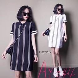 Đầm suông sọc cổ bẻ tay con hàng thiết kế- MS: S130757 Gs: 135k