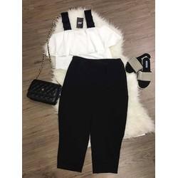 Set quần baggy áo bèo tầng 2 dây đen BH008