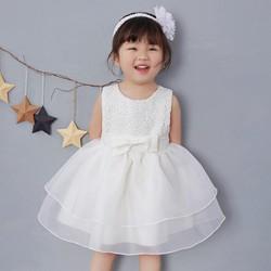 [0-2 tuổi] Đầm Ren Hoa Trắng