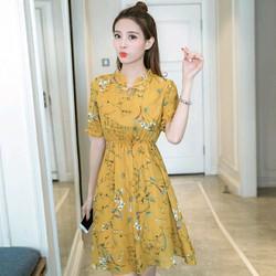 Đầm Xòe Hoa Nơ Cổ V Nhún Thời Trang TP1376