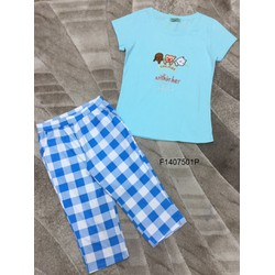 Set bộ áo thun 3 con gấu quần lửng caro ! - MS: S140751 GS: 105K