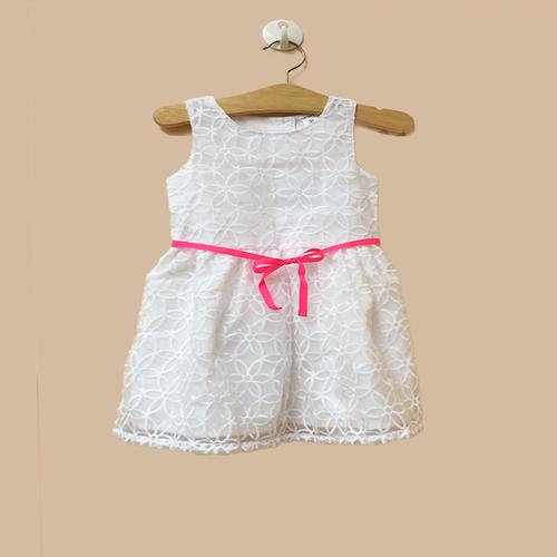Đầm bé gái  15-21 kg _ Đầm ren  trắng betl hồng - 402