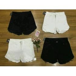 quần short tua rua đen trắng