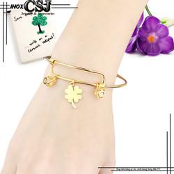 Vòng tay nữ inox  phụ kiện cỏ 4 lá may mắn màu vàng đẹp giá rẻ - LT363
