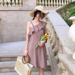 Đầm suông viền bèo 3 màu siêu Tây