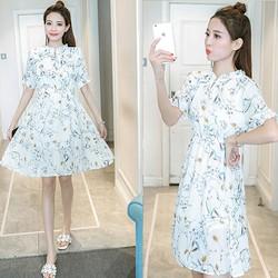 Đầm Xòe Hoa Nơ Cổ V Nhún Thời Trang TP1377