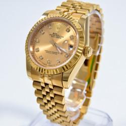Đồng hồ thời trang nam, nữ vàng, kim số số đính đá, chống nước – 527