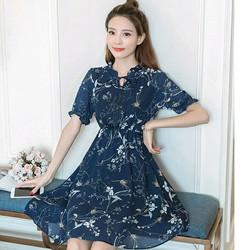 Đầm Xòe Hoa Nơ Cổ V Nhún Thời Trang TP1375