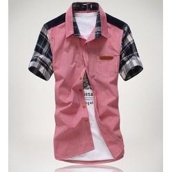 áo sơ mi nam phối màu caro Mã: NM579 - ĐỎ