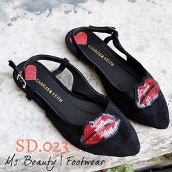 Giày sandal khóa môi hồng