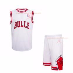 Quần áo bóng rổ Bull Trắng || áo bóng rổ bulls trắng 2