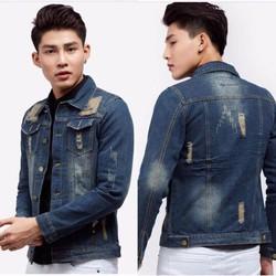 Áo khoác jeans nam rách wash dưới 65kg New
