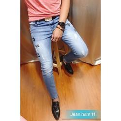 Quần jeans nam xanh rách wash in đen MS11