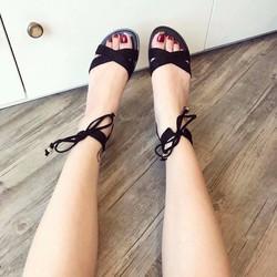 Giày Sandal quai chéo dây buộc cổ hàng da cao cấp