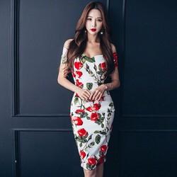 Hàng nhập - Đầm body dự tiệc in hoa hồng