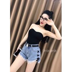 Set quần short jeans áo ống _MÕ CHU SHOP
