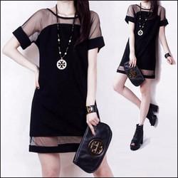Đầm suông phối lưới thời trang DU11902