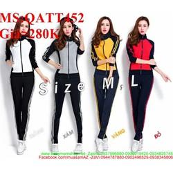 Bộ thể thao nữ áo khoác dài tay phối quần dài ghép màu nổi bật QATT452