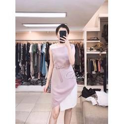 Đầm suông phối màu đơn giản