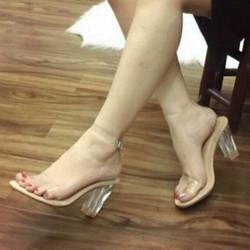 Giày cao gót sandal quai trong gót trong 7p