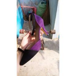 Giày cao gót mũi nhọn phối màu