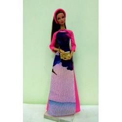 áo dài búp bê Fashion Royarty xanh tím tay hồng - không kèm búp bê