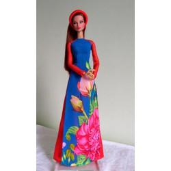 áo dài búp bê Fashion Royarty xanh tay vol đỏ- không kèm búp bê