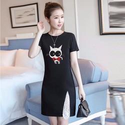 [FUNNY] Đầm Thun Đen Họa Tiết Mèo Con