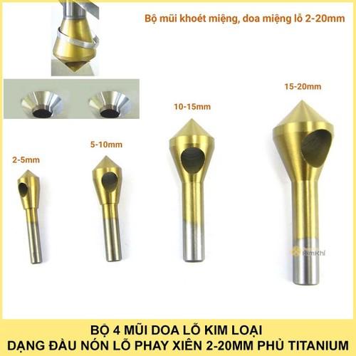 Bộ 4 mũi doa lỗ kim loại phủ Titanium 2-20mm - 5050814 , 6376432 , 15_6376432 , 215000 , Bo-4-mui-doa-lo-kim-loai-phu-Titanium-2-20mm-15_6376432 , sendo.vn , Bộ 4 mũi doa lỗ kim loại phủ Titanium 2-20mm