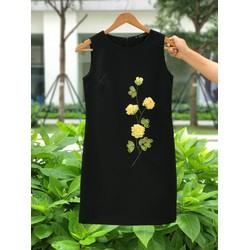 Đầm đen dáng suông thêu hoa thủ công cao cấp
