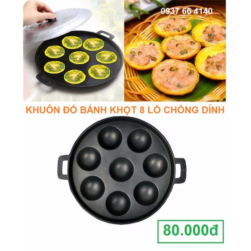 Khuôn bánh khọt 8 lỗ khuôn chống dính làm bánh bạch tuộc bánh bông lan có nắp đậy - 4909221 , 6378270 , 15_6378270 , 80000 , Khuon-banh-khot-8-lo-khuon-chong-dinh-lam-banh-bach-tuoc-banh-bong-lan-co-nap-day-15_6378270 , sendo.vn , Khuôn bánh khọt 8 lỗ khuôn chống dính làm bánh bạch tuộc bánh bông lan có nắp đậy