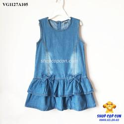 Đầm jean 2 tầng màu nhạt size 9-14