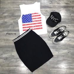 Set áo thun cờ Mỹ chân váy body thun ! MS: S180725 Gs: 110K