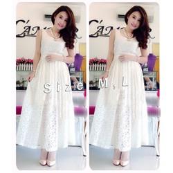 Đầm ren maxi trắng giống đăng thư