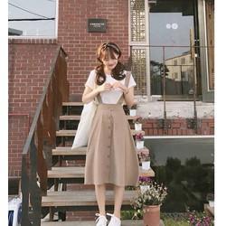 Set váy yếm kaki áo thun cotton