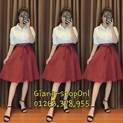 chân váy xòe nơ cùng màu