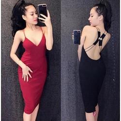 Đầm body hở lưng đính tag hạt pha lê sexy