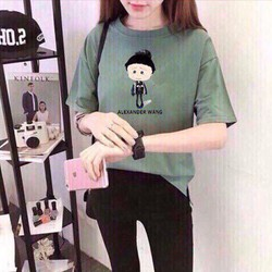 Áo thun nữ tay lỡ in hình chibi siêu kute
