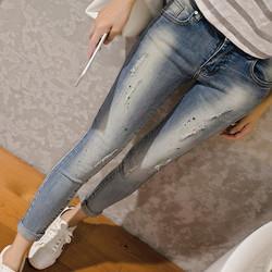 Quần jean thời trang rách nhẹ phối với màu sơn 181