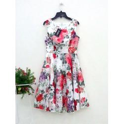 Đầm xòe ren in hoa cao cấp